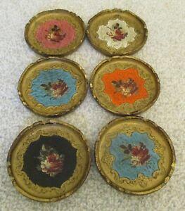 Six Vintage Italian Florentine Gilded Wooden Toleware Coasters Hollywood Regency