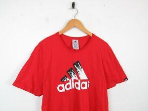 Mens Adidas Orangey Red Short Sleeve Big Logo Sports Crewneck T-shirt size Large