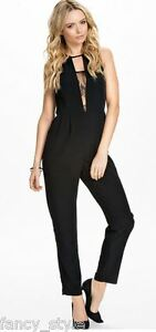 BLACK SLEEK PLUNGING V LACE INLAY JUMPSUIT PLAYSUIT ONE SIZE 8-12 NEW REDUCED