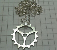 "TIBETAN SILVER CHARM ""WATCH COG STYLE 2.2CM 16"" SILVER P/T CHAIN or18/20""LEATHER"