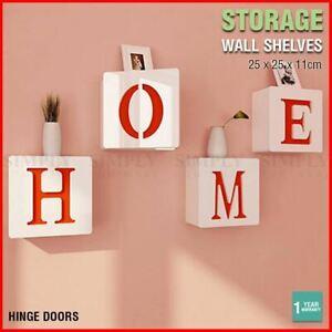 Square Wall Storage Shelf Unit Rack Door Shelves Floating Bookshelf White Home