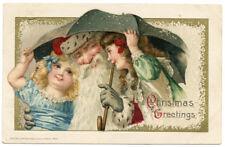 Winsch Santa 2 Girls Under Umbrella with Santa