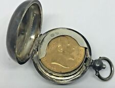 VINTAGE STERLING SILVER~~GOLD SOVEREIGN COIN LOCKET or PENDANT~~by EJH ENGLAND