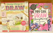 2 x You Can Draw Anything & Funky Things to Draw Guide BOOKS Tips & Techniques