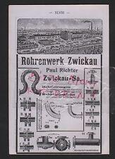 ZWICKAU, Werbung 1912, Paul Richter Röhrenwerk Rohrleitungen