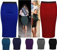 Womens Ladies Plain Midi Stretch Bodycon Party Skirt Size 4 6 8 10 12 14 16 LngW