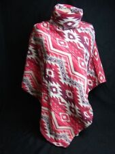 Aztec Turtle Neck Poncho Red Tan Fleece Warm