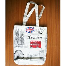 White London Bus Big Ben Bridge Women Tote Bag Shoulder Bag Handbag Canvas Small