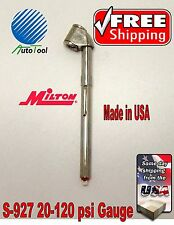 MILTON 927 CAR TRUCK TIRE AIR PRESSURE GAUGE 120PSI  TRUCKER PENCIL GAUGE CHROME