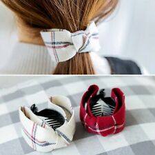 Plaid bow hair clip hair claw clamp butterfly ponytail grip for women girls UK