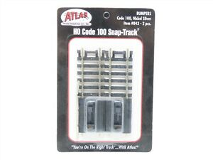 HO Scale Atlas #843 Code 100 Snap-Track Straight Bumpers 2 pcs. - Sealed