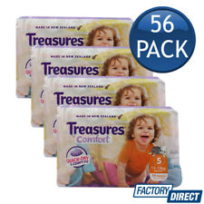 4 x TREASURES COMFORT BABY NAPPIES WALKER 13-18Kg DIAPERS NAPPY SIZE 5 14 PACK