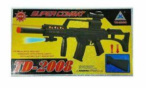 TD-2008 Kids Toy Military Assault Rifle Gun with Flashing Lights Sound Vibration