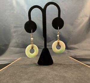 14k Gold Jade Earrings               Jade Donuts Pearl Beads