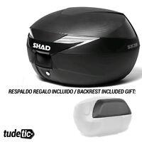 SHAD Baul maleta trasera moto con respaldo y tapa simil carbono de regalo SH39 S
