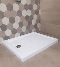 Piatto doccia acrilico rinforzato cm H 5,5 x 80 x 100 bianco con piletta cromata