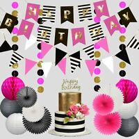 Birthday Party Decorations for Women Pink and Black Party Decorations