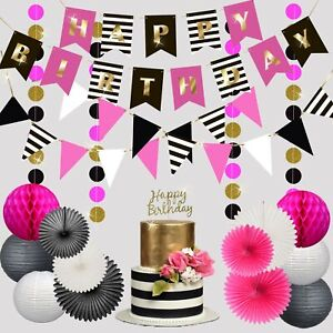 Happy Birthday Decorations for Girl, Woman Party Set by RainMeadow Hot Pink Gold