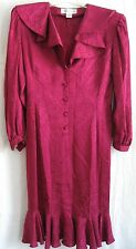 Vintage Argenti Pure Silk Dress Size 10 Retro Ruffles Raspberry Red Purple