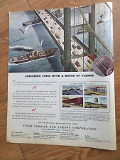 1944 Union Carbide Ad Scrubbing Steel with a Brush of Flames Bridge Ships Theme
