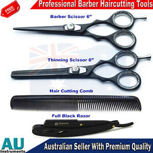 Barber Salon Kit Hair Cutting Hairdressing Scissors Thinning Straight Razor Comb
