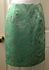New Women's SUNNY LEIGH Mint Green Jacquard Skirt Ikat Straight Pencil Sz 2
