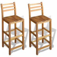 2x Bar Stools Kitchen Backrest High Chair Acacia Wood Pub Seat Dining Garden