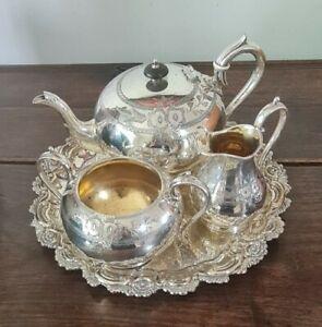 Antique VICTORIAN SILVER PLATED TEA POT  Set and Tray JAMES DIXON 1880'S Teapot