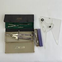 Vintage Drafting Tools Compass Set Lot Taco Etc Germany Triangle Engineering