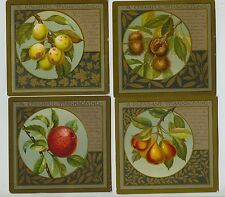 Set of 5 Victorian Trade Cards Thanksgiving w/ Fruit and Poems by Whittier