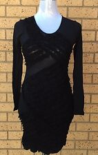 Zimmermann Little Black Dress Sheer Long Sleeves Size 0 AU 6 - 8 Made In AU