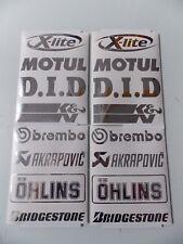 Sponsoren Aufkleber Set in Chrom - 2x8 Stück - Motorrad - Auto - 15cm - Sticker