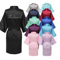 Satin Women Silk Dressing Gown Wedding Bride Bridesmaid kimono Robe Bridal