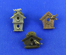 "Vintage Lot of 3 Signed ""JJ"" Jonette Jewelry Birdhouse Brooches Pins Tie Tacks"
