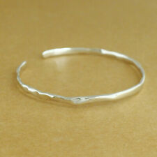 Solid 925 Sterling Silver Polished Hammered Cuff Bangle Bracelet 55mm 7.5g Boxed