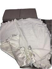 Carter's White Baby Blanket Satin Ruffle Trim Satin Backing Solid White