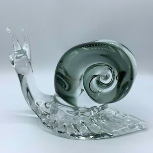 "Vintage Art Glass Murano Smokey Gray Clear Snail Figurine 5"" Tall"
