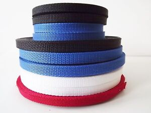 10mm Black and 10mm Red, Blue, and White Nylon Polypro Webbing  in 10M 50M 100M