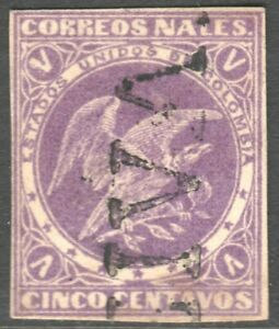 COLUMBIA, 1876 5 CENT VIOLET, ON THICK LAID PAPER, FINE USED.
