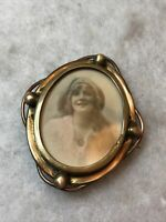 Antique Portrait Brooch Victorian 1880s 1890s Tinted Print Jewellery Jewelry Old