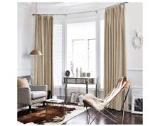 jinchan Velvet Curtain Beige Living Room Rod Pocket Window Curtain Panel 52 x 95