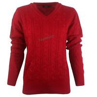 LADIES WOMENS V NECK CABLE KNIT LONG SLEEVE KNITTED JUMPER SWEATER TOP QUALITY