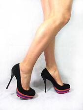 Kurt Geiger Carvela Black Suede Shoes Size 6 Platform Courts Stiletto High Heels