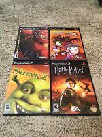 PS2 PlayStation Game Lot Of 4 Shrek Harry Potter Odd Parents Spider-Man  Manuals