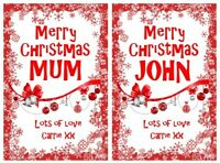 Red Personalised Christmas Bottle Labels Vodka Whiskey Rum Gin Gift Stick On Bag