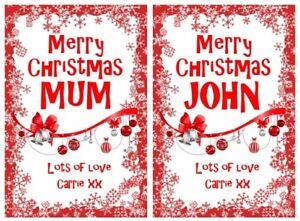 Red Personalised Christmas Bottle Labels Secret Santa Gift Idea Stick On Bag Box