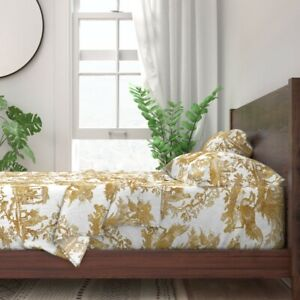 Toile Chinoiserie Asian Gold White 100% Cotton Sateen Sheet Set by Roostery