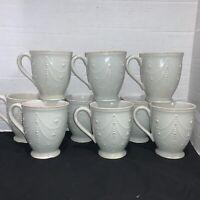 Lenox French Perle White Cups/Mugs, Coffee, Tea. Set Of 9
