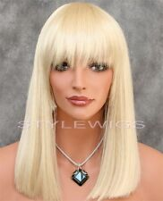 Platinum Blonde Shoulder Length Flat Straight Synthetic Wig SADC 613
