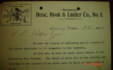 Old 1899 rare Hose Hook & Ladder Co No 1 letterhead Fire Dept Kittanning PA Hoey